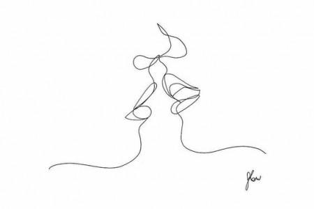 用线条描绘人体的草图。